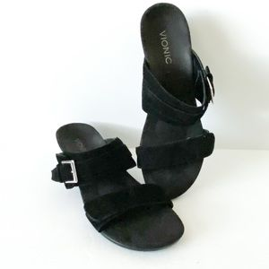 Vionic Shoes - Vionic black suede two strap sandals